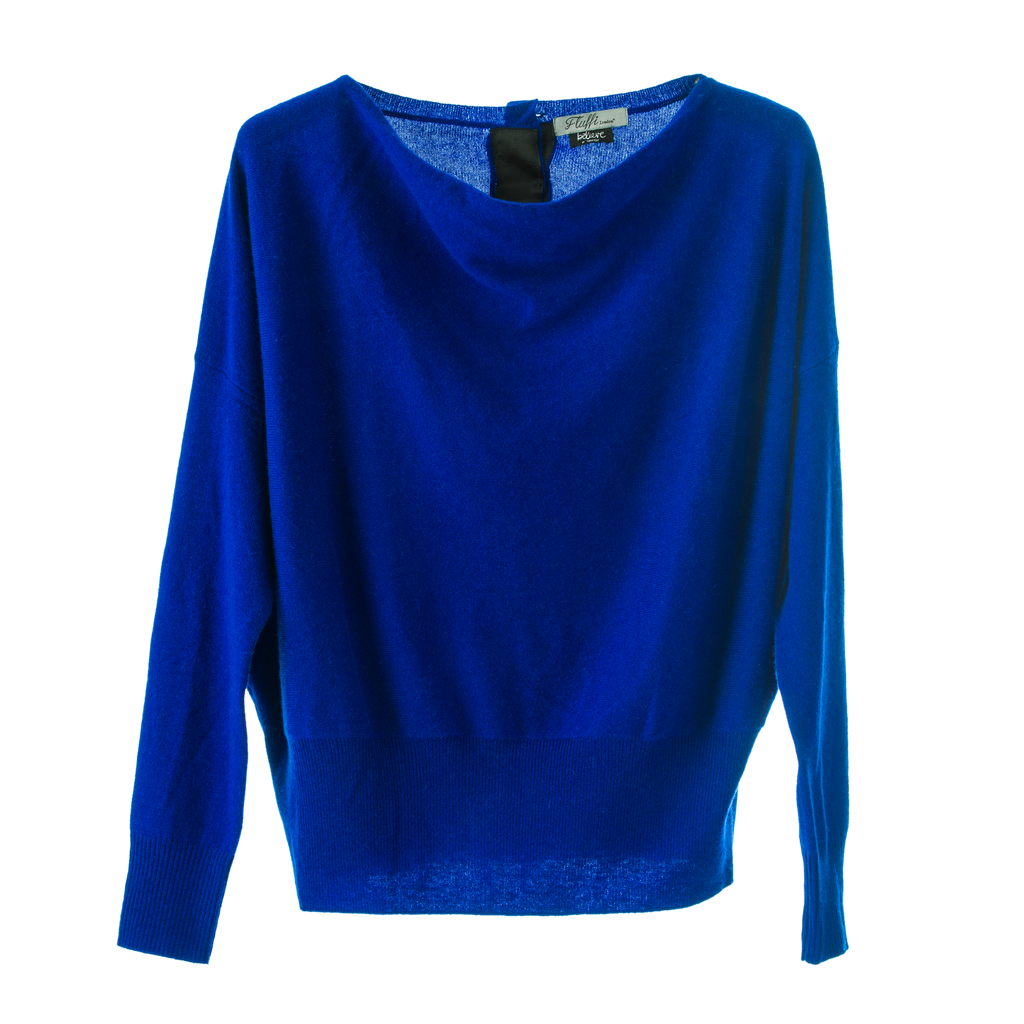 Penny 100% Mongolian Cashmere designer Jumper loose fit open neck ,rear button feature.