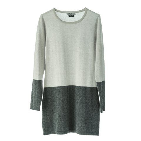 100% Mongolian Cashmere designer dress/Jumper two colour fitted design easy wear.