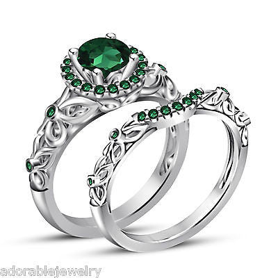 925 Sterling Silver Green Emerald Engagement Ring + Wedding Band ...
