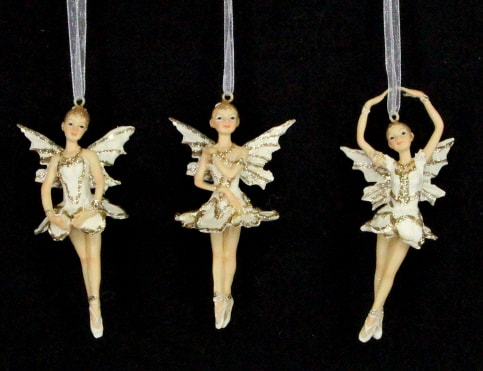 Cream and Gold hanging Fairy Christmas ornaments