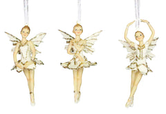 Cream and Gold Ballerina Fairy, Small - Set of 3