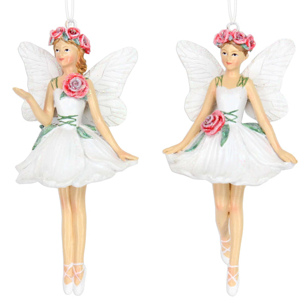 Frosted White Rose Fairies - Set of 2