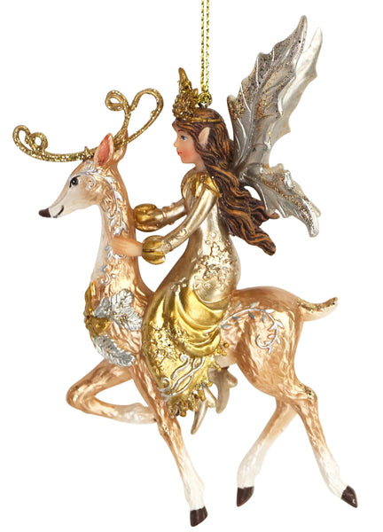 Hanging Christmas Fairy riding Reindeer 12795