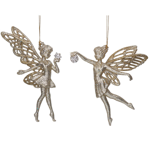 Gold Glitter Fairies - Set of 2