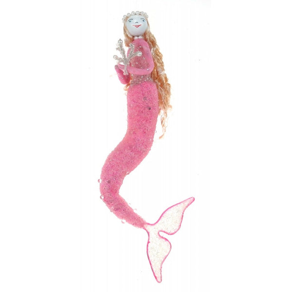 hanging mermaid ornament, pink crystal mermaid