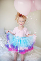 Children's tulle tutu skirts UK come in blue and pink rainbow