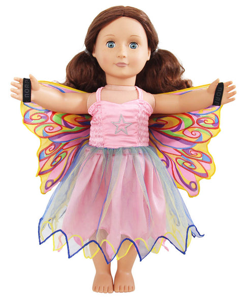 Dolls Fairy Rainbow Dress with wings and mask