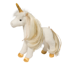 Golden Princess Unicorn, White plush unicorn, golden horn, mane and tail. brushable mane and tail.