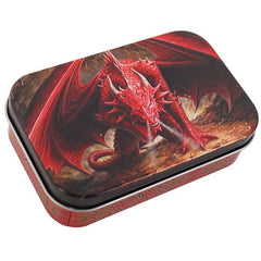 Red Smoke Breathing Dragon Storage Tin by Anne Stokes