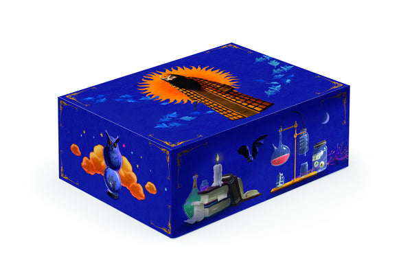 magical storage box, wizard on the top, chemistry images on the sides with owls, bats and beakers