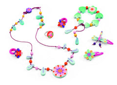 children's pretty jewellery and accessories, wooden flower set, greens and pinks