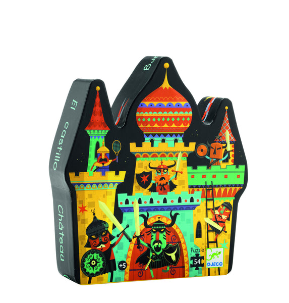 Knights jigsaw puzzle, viking style knights hanging out of a colourful castle.