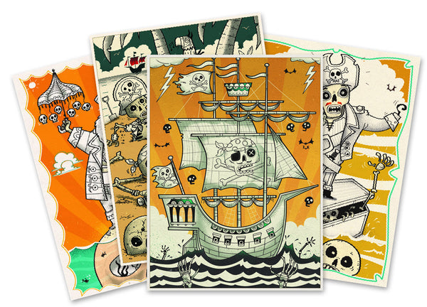 art set for 7,8,9,10,11,12,13 year old boy - fantastic pirate sheets and instruction booklet to teach kids more about art techniques