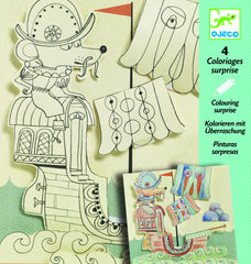 3D Colouring in set of pages - pirate ship, safari