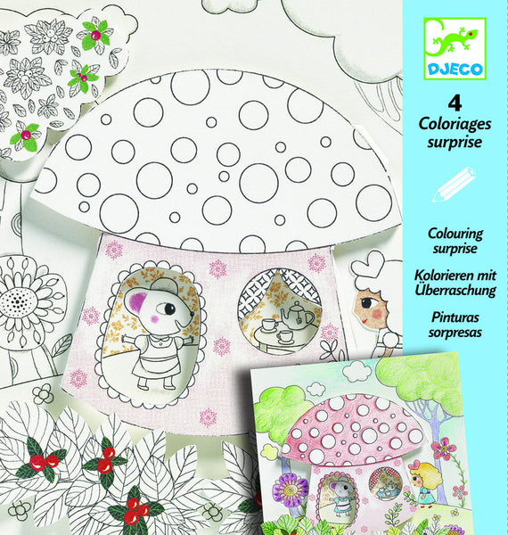 3D Fairy tale colouring, Thumbalina scenes including toadstool house