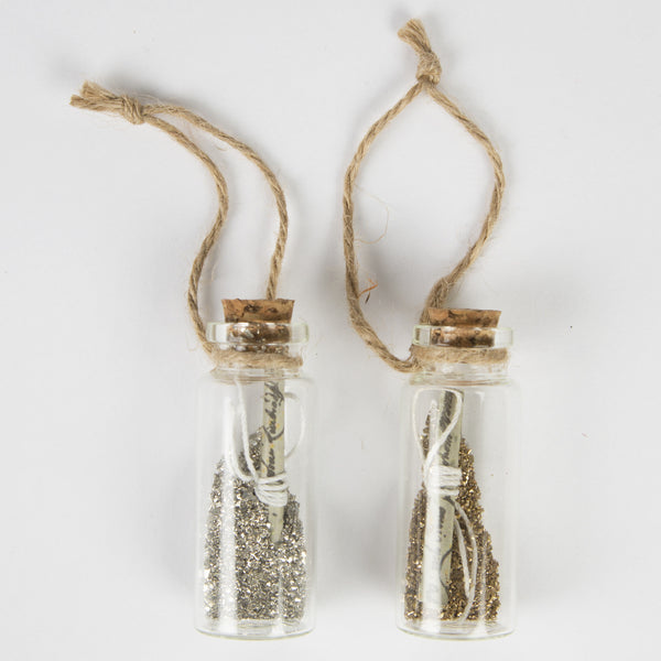 silver and gold fairy dust bottles, Christmas tree ornaments