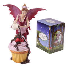 Pink cupcake fairy figurines