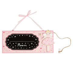 Children's pink fairy door plaque
