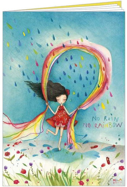 pretty lined notebook, with little girl skipping with a rainbow and 'No Rain, No Rainbow' written on it.