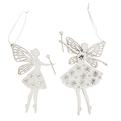 White sparkly hanging wooden fairies