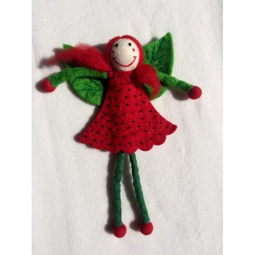 Miss Strawberry Fairy Felt Doll - Large