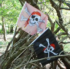 Pirate flag with skull and cross bones, black and pink