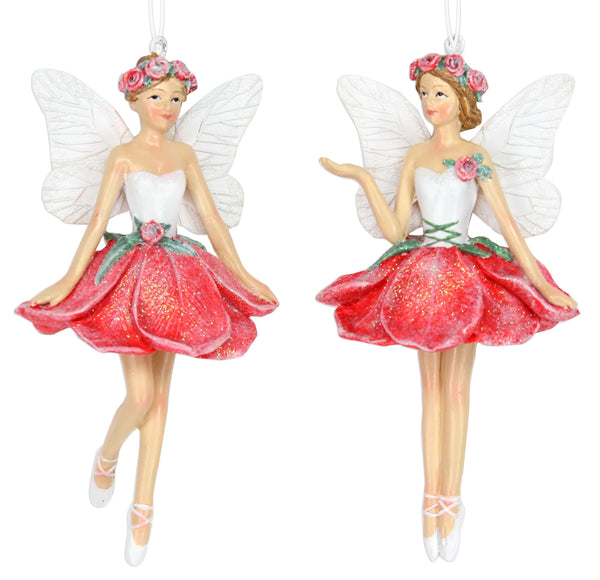 12429 Frosted Red Rose Fairy Christmas Decoration