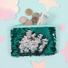 Silver and Green Reversible Sequin Coin Purse