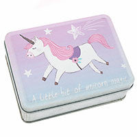 Small tin with pink and white unicorn
