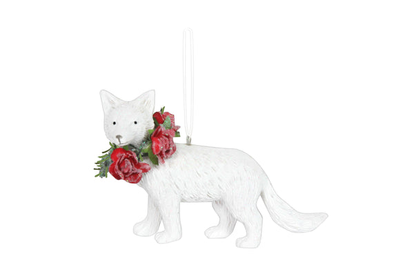 White Resin Fox with Red Rose Collar