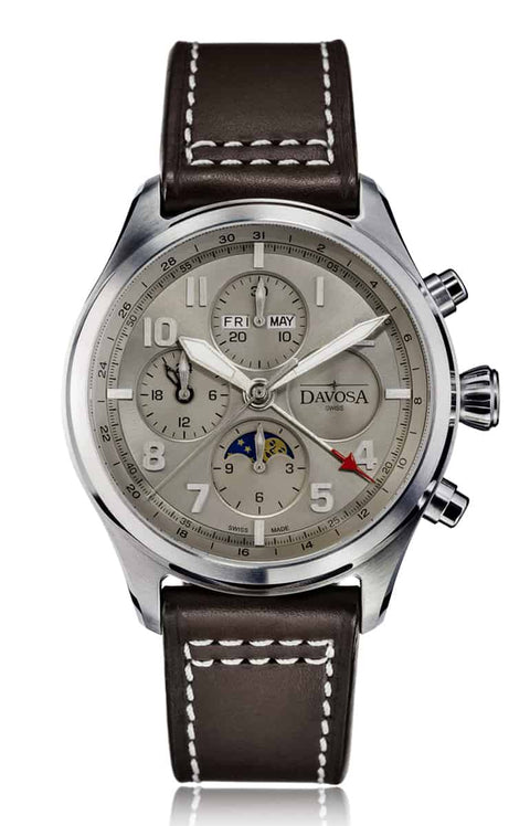Newton pilot moonphase chronograph automatic - grey - 16158615