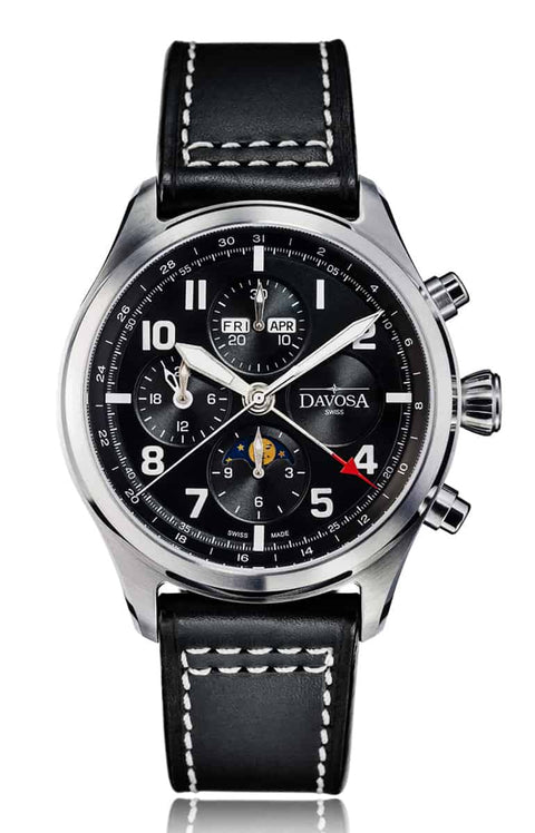 Newton pilot moonphase chronograph automatic - black - 16158655