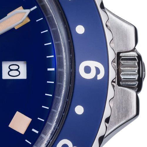 Vintage diver quartz 100m blue stainless steel bracelet 39mm - 16350040