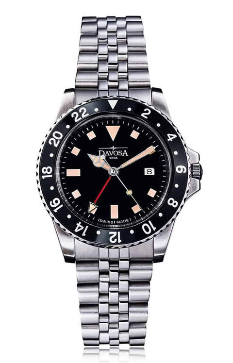Vintage diver quartz 100m black stainless steel bracelet 39mm - 16350050