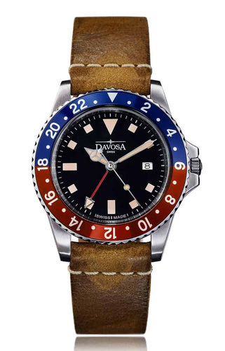 Vintage Diver Quartz 100m Red-Blue 39mm Leather Strap 16250095