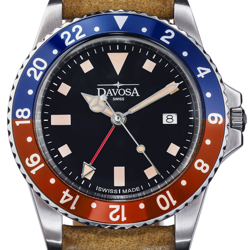 "Vintage diver quartz 100m red-blue ""Pepsi"" 39mm leather strap 16250095"