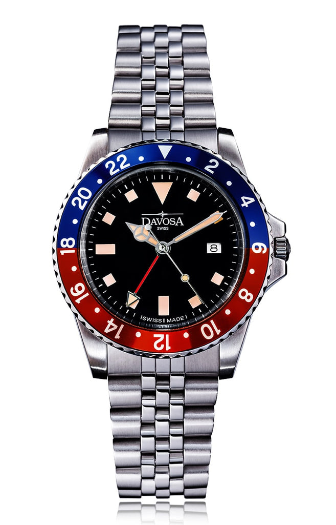 Vintage Diver Quartz 100m Red-Blue 39mm Jubilee Bracelet 16350090