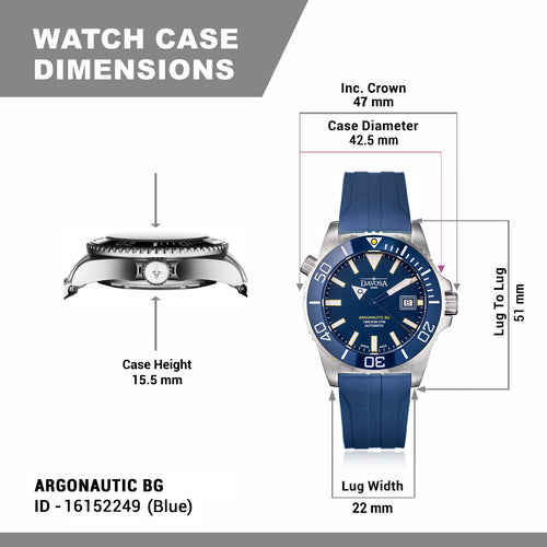 Argonautic bg automatic blue with rubber band 300m 16152249