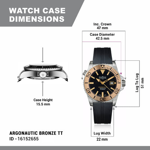 Argonautic bronze tt 300m diver 42mm automatic 16152655 - limited edition