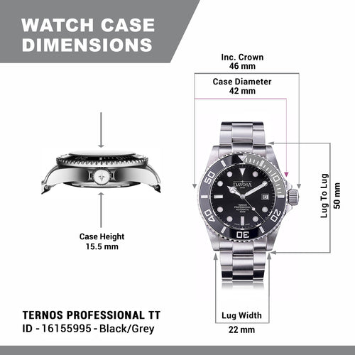 Ternos professional tt 500m diver automatic 42mm black-grey 16155995