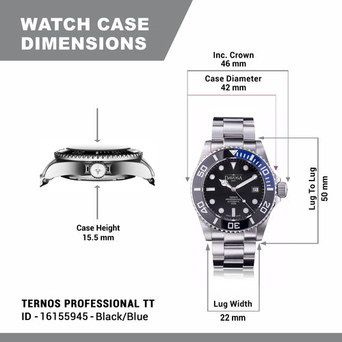 Ternos professional tt 500m diver automatic 42mm black-blue 16155945