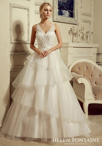 BEADED BODICE COMBINED WITH TIERED ORGANZA SKIRT Style # HFW1061