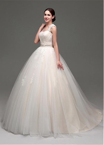 Gorgeous Tulle & Organza Sweetheart Neckline Ball Gown Wedding Dresses With Lace Appliques