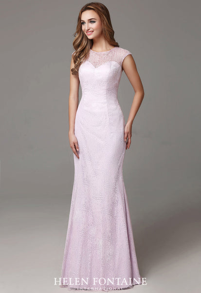 Floor Length Mermaid Lace Dress Style # HFW2511