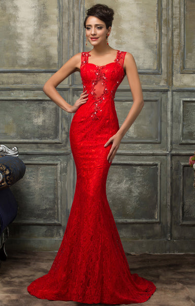 long floor length sleeveless lace ladies red evening dresses CL007585