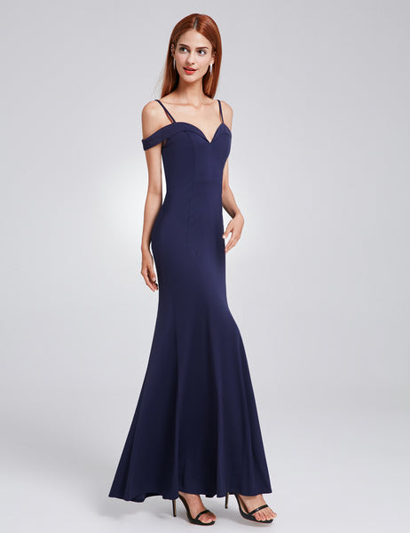 Women's Elegant Off-the-shoulder Sleeveless Long Evening Party Dress 07017