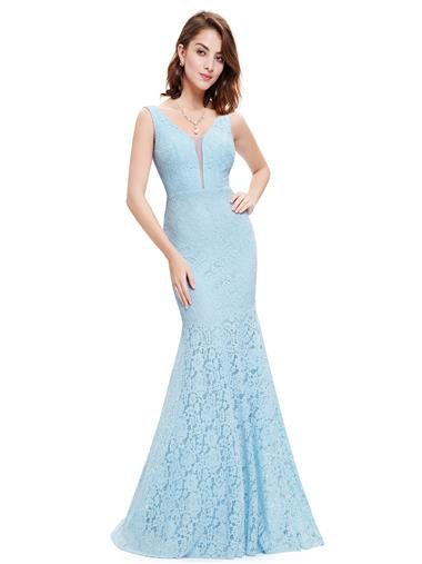 V Neck Lace Fishtail Evening Dress EP08838