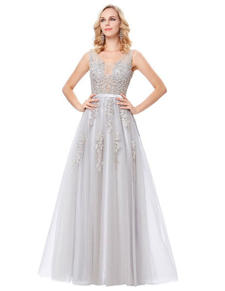 Elegant Deep V-Back Soft Tulle Netting Sleeveless Long GK000130-2
