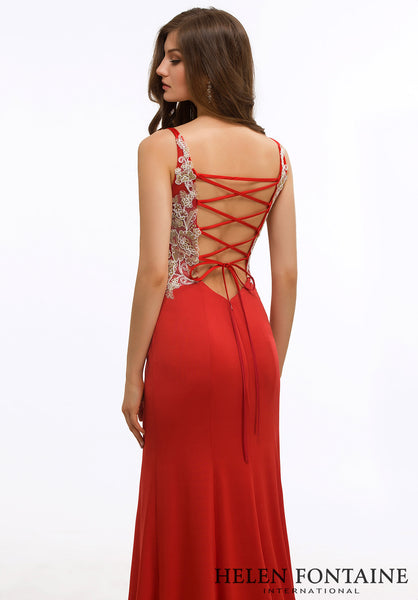Red Jersey V Neck Dress with Corset Back Style # HFP2634