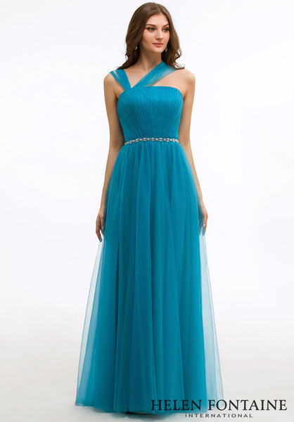 RUCHED FLOOR LENGTH PROM DRESS WITH STRAPS Style # HFP2646